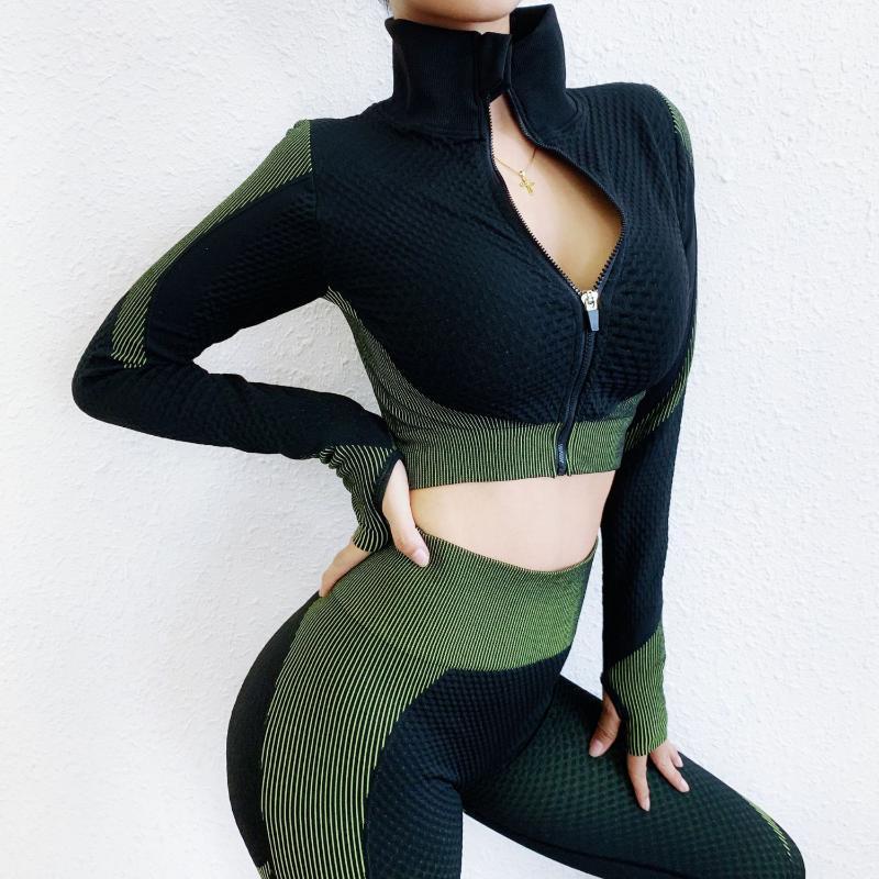 Yoga transparente set ropa de la aptitud Gimnasio Conjunto del chándal de las mujeres ropa de entrenamiento de los cultivos de la cremallera de manga larga superior de cintura alta pantalones de yoga