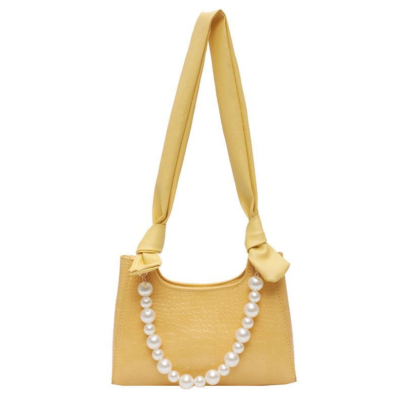 Женщины жемчужины одиночные Weomen сумка для сумки сумка новый узел крокодил модное плечо для подмышки 2020 кихн