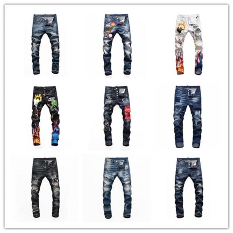 TOP 남성 dsq2 ds2 자수 d2 jeans 바지 패션 구멍 바지 이탈리아 크기 44-54 2020 최고 브랜드 Dsquared2 청바지 남성 청바지 남성 데님 검은 색 dsquared2 jeans