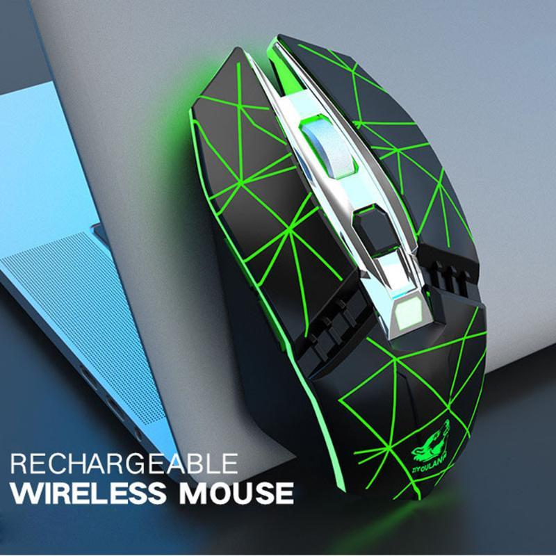 Mouse Gaming Rechargeable X5 Wireless Silent LED Backlit USB Optical Ergonomic Gaming Mouse for pc Laptop-L05