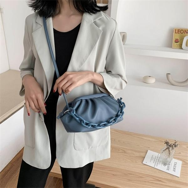 Special Handbags Dumpling-Shaped Armpit Clutch Frill Waterproof Anti-Fouling Multifunctional Women Shoulder Bags Blue Q1105