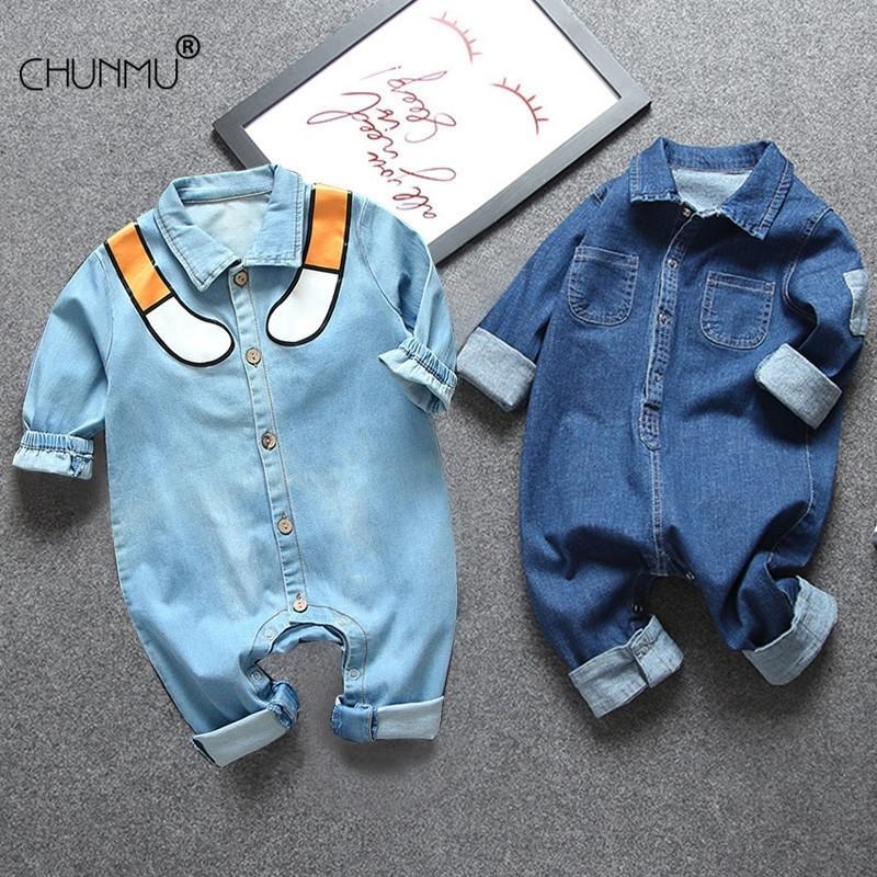 Ropa para bebés recién nacidos Trajes de ropa para bebés Bebé niños mamelucos Kid Algodón Disfraz de mezclilla flexible para niñas Jumpsuit 201127