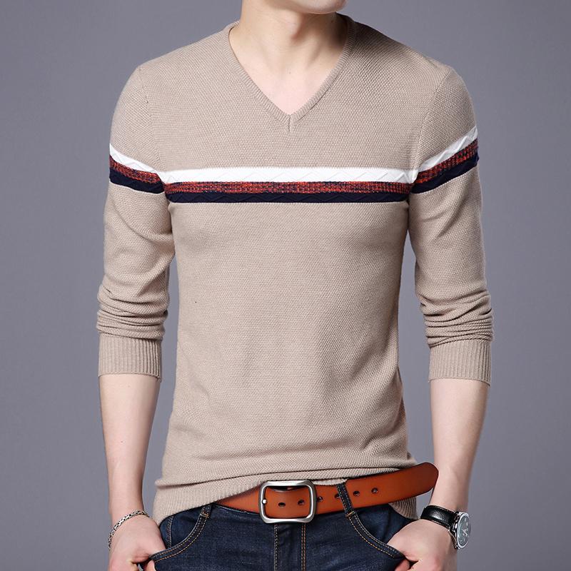 New Mens Casual Slim Fit pulôver leve fina Tecido V-neck Sweaters Peito listra modelado Sweater
