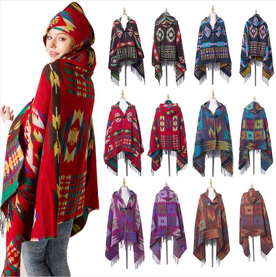여성 보헤미안 칼라 격자 무늬 후드 담요 케이프 망토 Poncho 패션 양모 혼합 겨울 outwear 목도리 스카프 DDA755