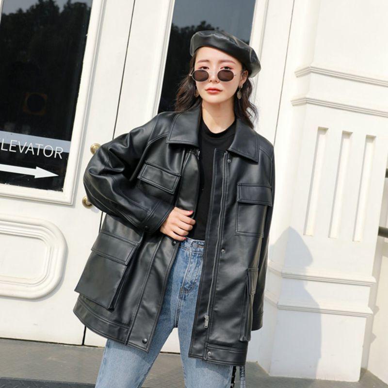 FMFSSOM Spring Autumn Four Big Pocket Chic Loose Design MotoBike BF Vintage Retro Women Lady Pu Leather Jacket 201016