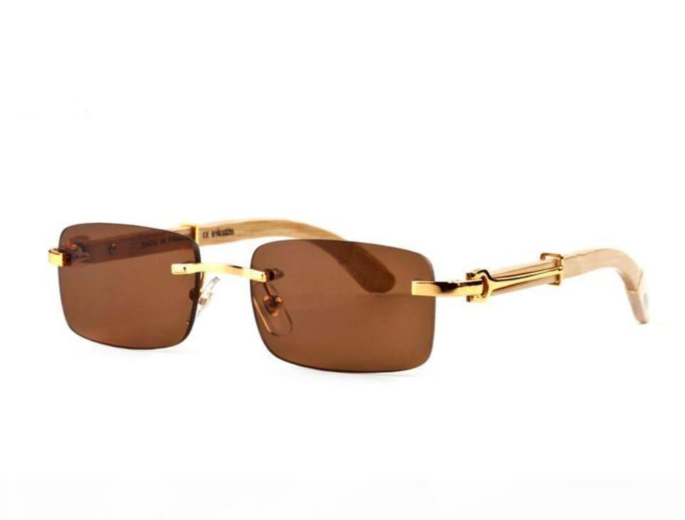 Ienbel 2020 Fashionless Rimless Sunglasses Hombres Madera y Naturaleza Búfalo Cuerno Conducción Sombra Gafas Para Hombre Deporte Gafas De Gama De Sol