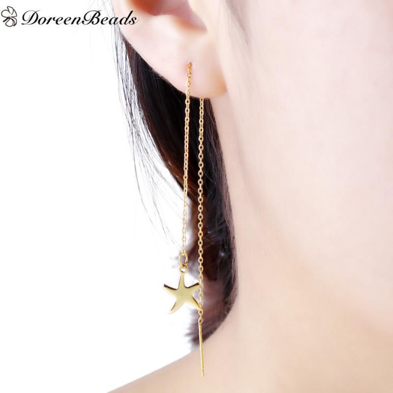Doreenbeads 304 스테인레스 스틸 여성의 귀 실 스레더 귀걸이 골드 컬러 잠자리 불가사리 약 14.2cm 길이, 1