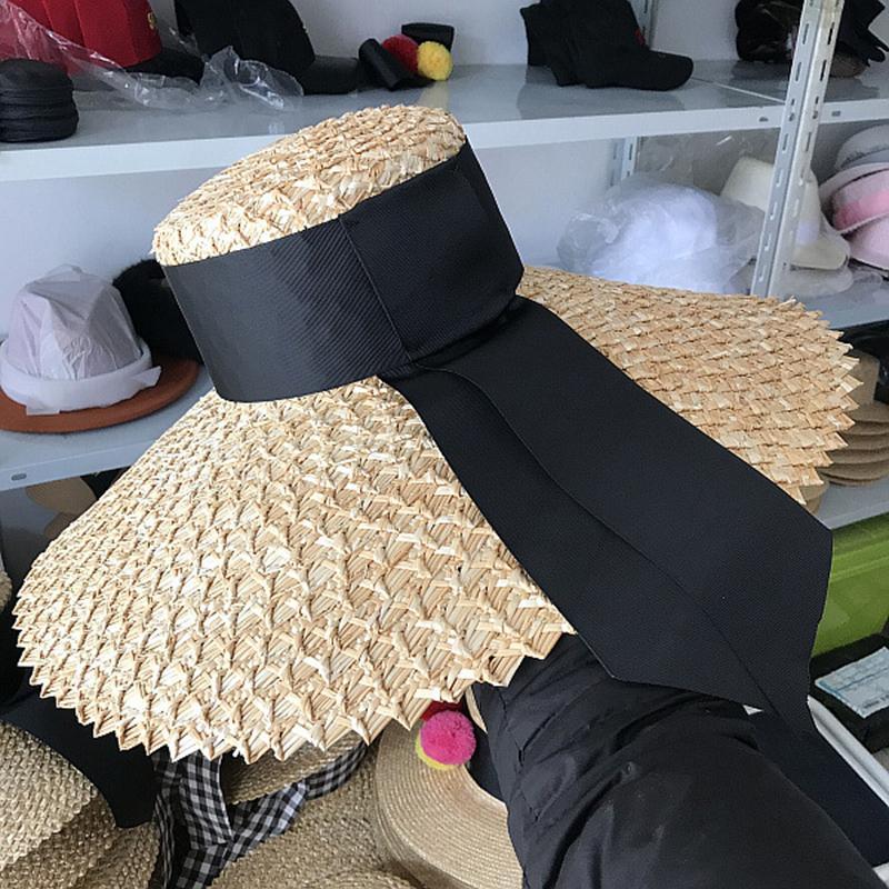 New Fashion Women Sun Hat Natural Straw Large Wide Brim Summer Casual Beach Hat Elegant Ladies Floppy Kenturky Derby Hat C0123