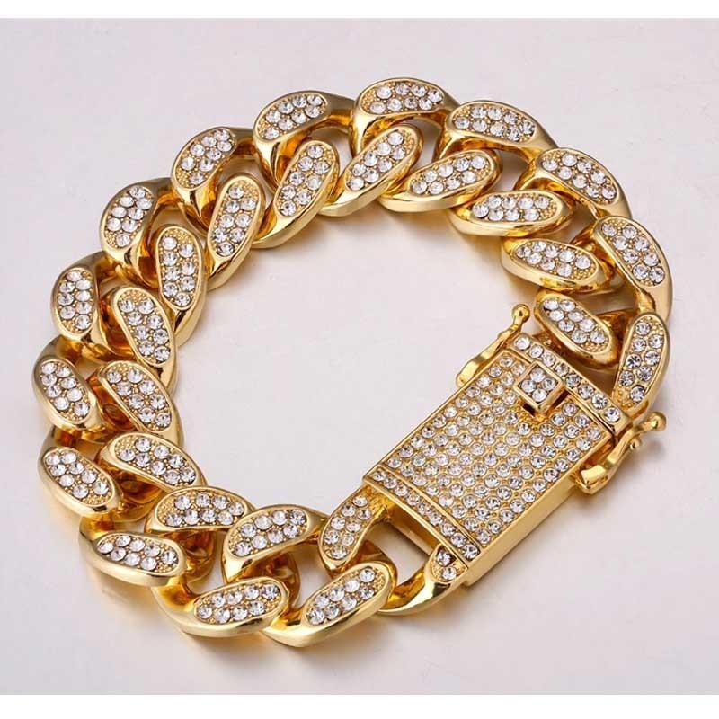 Hip Hop 20 mm Bracelet strass Collier chaîne d'or Big Dominatrice Exagération Miami Cuban Chain Rapper Bijoux