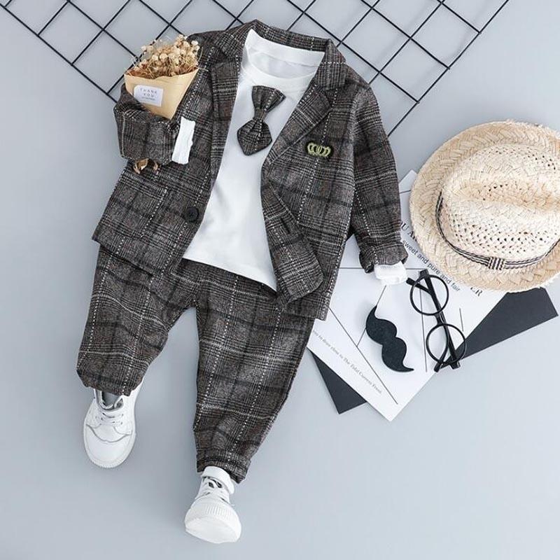 Baby Boy Мода формальная одежда набор детской галстуки костюмы высокого качества Осень весенняя детская одежда 1 2 3 4 года 201126
