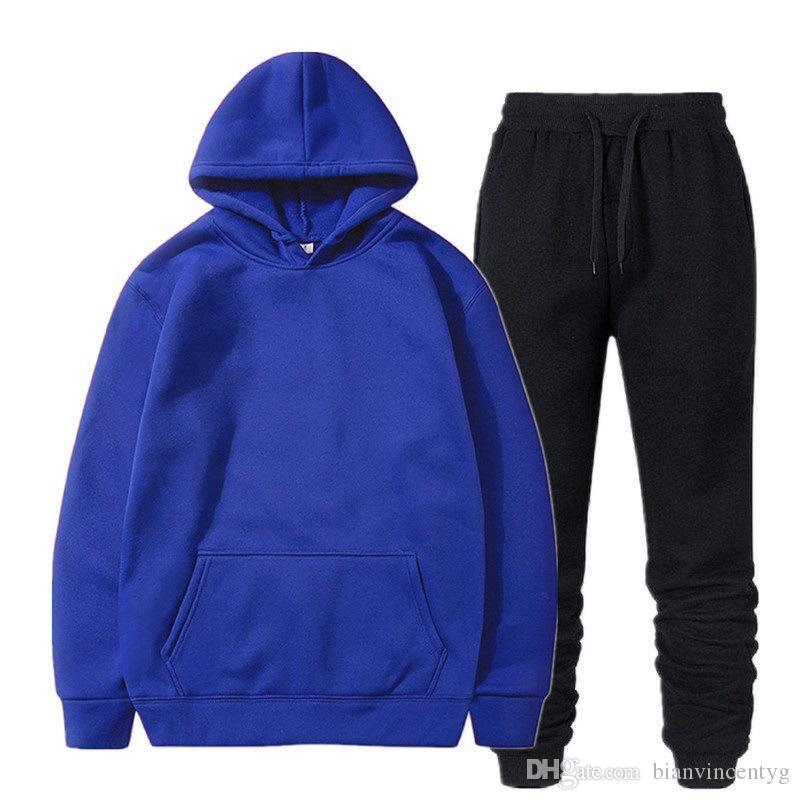 Herbst Mens Designer Mode Tracksuits Sweatshirt Zweiteiler Top-Hose mit Kapuze lose Kapuzen-Outdoor-Sport-Anzug Street Hip-Hop