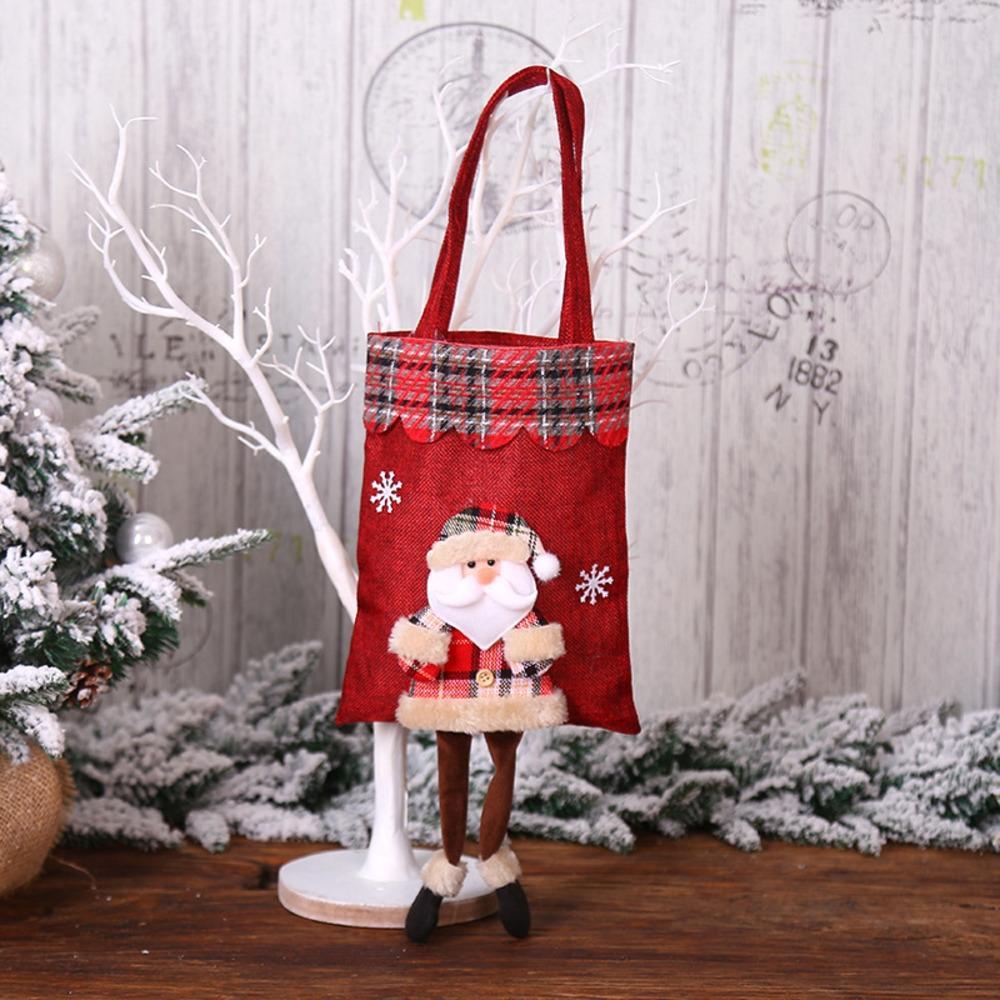 Decorações de Natal dos doces de Santa manta decorações de Natal dos doces de Santa boneca Plaid saco do presente bagdoll Gift Bag saco LKqtX