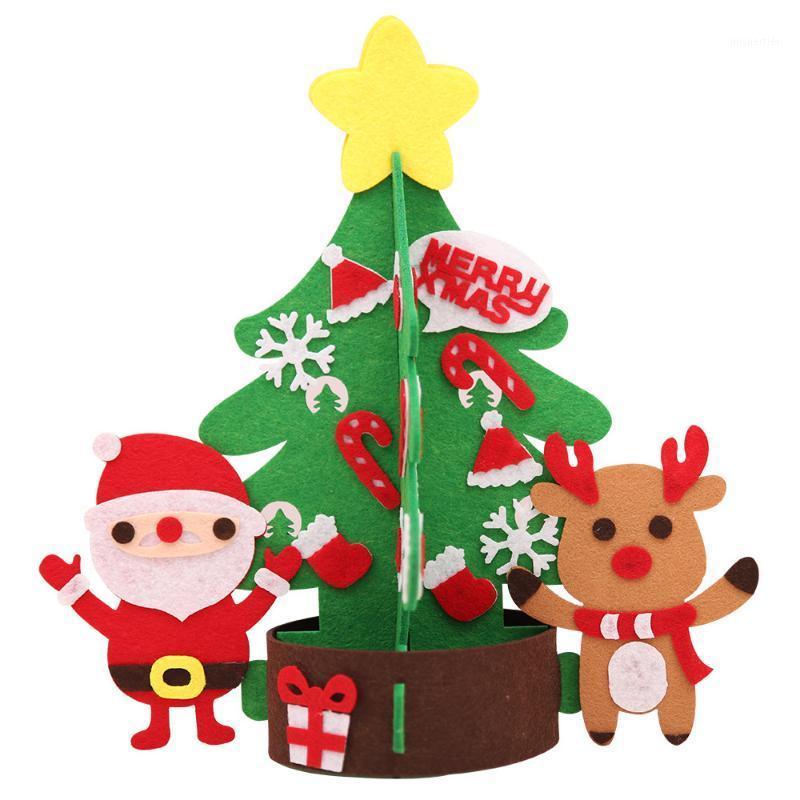 Creative 1pcs Decoración de Navidad de invierno cálido Decoración de Navidad DIY Fieltro Árbol Adorno de mesa con luz LED1