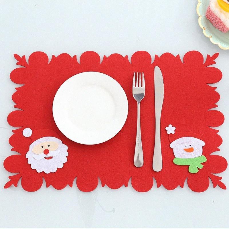 Décorations de Noël Décoration de bureau Nouvelle table Tapis couteau et une fourchette Pad Articles ménagers de la #