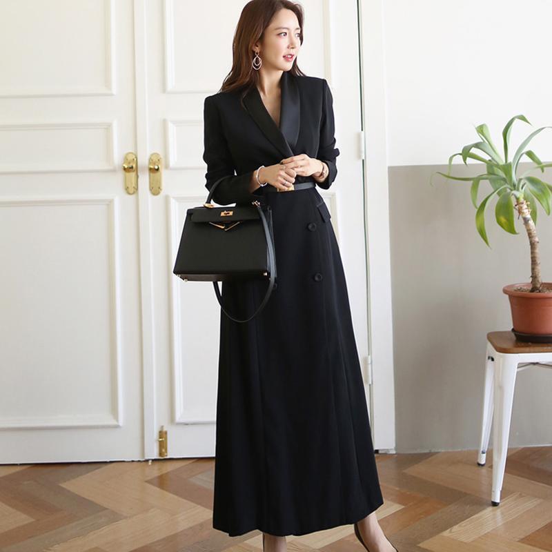 Donne alla moda intaglio Collare doppio petto Cappotti Winter Fashion Office Work Wear Miscela cappotti femminile cappotti lunghi 2020