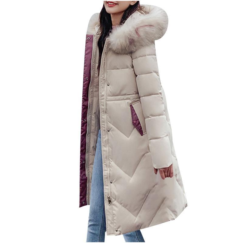 Damen Down Parkas Herbst Winterjacke Frauen Parka Warme Dicke Lange Baumwollmantel Weibliche Lose Übergroße Kapuzenkunst Damen # T2G