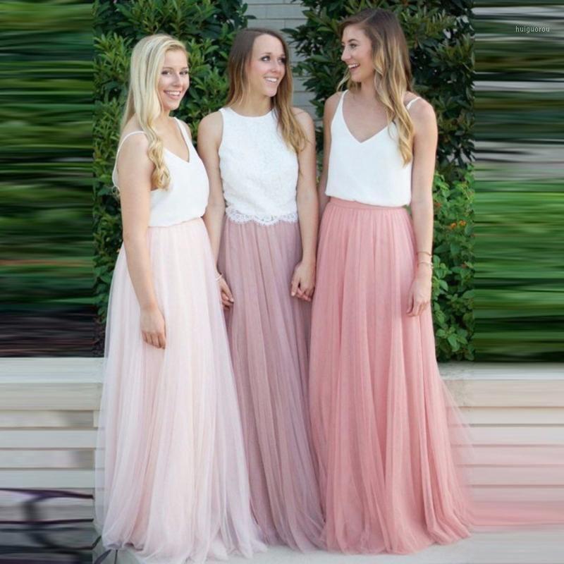 Mulheres 3 Camadas Lace Maxi Saia Longa Soft Tule Saias de casamento Sala de dama de honra Sala de baile Faldas SAIAS Femininas Jupe Plus Size1