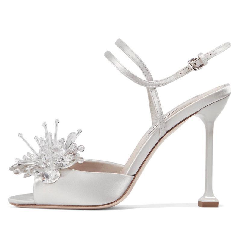 Sandals Charm2021 Высокий каблук рыба рот тонкие каблуки сандалии, хрустальные стеклянные цветочные туфли, Чжоу Донгу же обувь