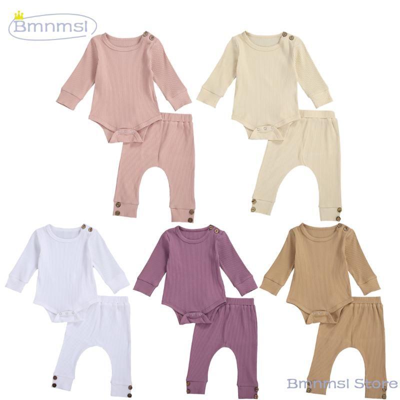 0-24m primavera otoño recién nacido bebé niña muchacho atuendo acanalado manga larga mameluco + jogger pantalones pinzas de entrepierna color sólido 2pcs ropa