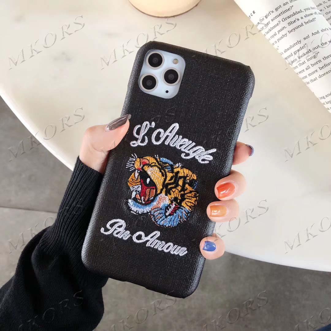 أزياء إلكتروني تصميم 3d التطريز النمر حالة الهاتف لآيفون 12 11 12PRO 11PRO X XS ماكس XR 8 7 6 6 ثانية زائد جلد الغلاف الجلد
