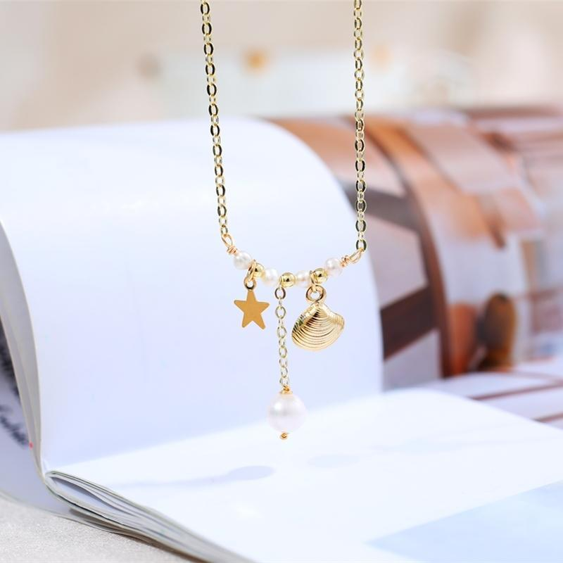 Collana di conchiglia per color collana per perle di alta qualità 6-7mm Collana con pendente per perle d'acqua dolce per le donne