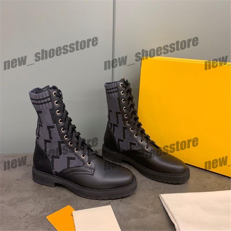 Fashion Women Fashion Martin Stiefel Schuhe aus schwarzem Leder stricken Mid Stiefel Freizeit Brief Printed-Partei-Kleid-Schuh-Turnschuhe Stiefel