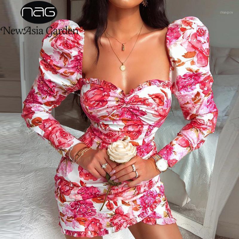 Newasia Garden Bodycon Parti Elbise Kadınlar Seksi Kare Yaka Can Kapalı Omuz Ruffles Zarif Elbise Vintage Çiçek Print1