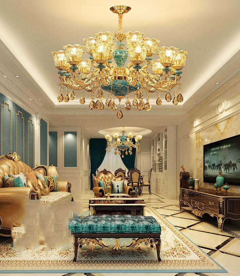 Moderne europäische stil led kristall kronleuchter luxus einfache atmosphäre blau keramik kronleuchter beleuchtung schlafzimmer kristall pendel lampen