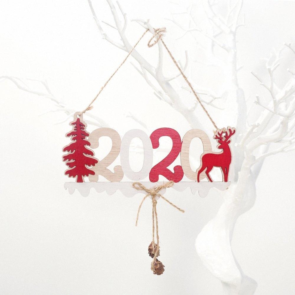 2020 Ano Novo Alfabeto Casa Placa de Natal oca decoração da porta pendurado pingente de enfeites de suspensão de madeira aKww #