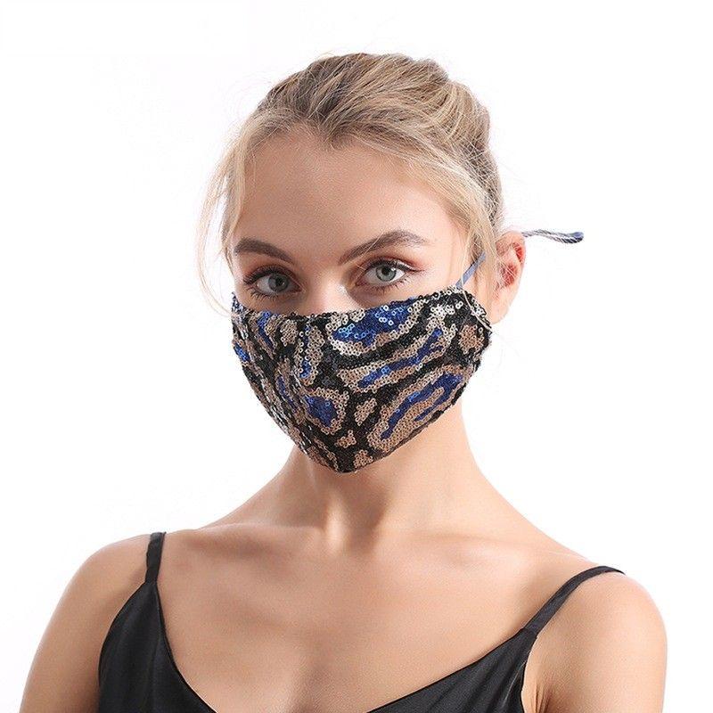 Man Woman Dustproof Sequins Masks Colour Leopard Print Foldable Adjustable Washable Adult Gauze Mask Hot Sale 5 2jy J2