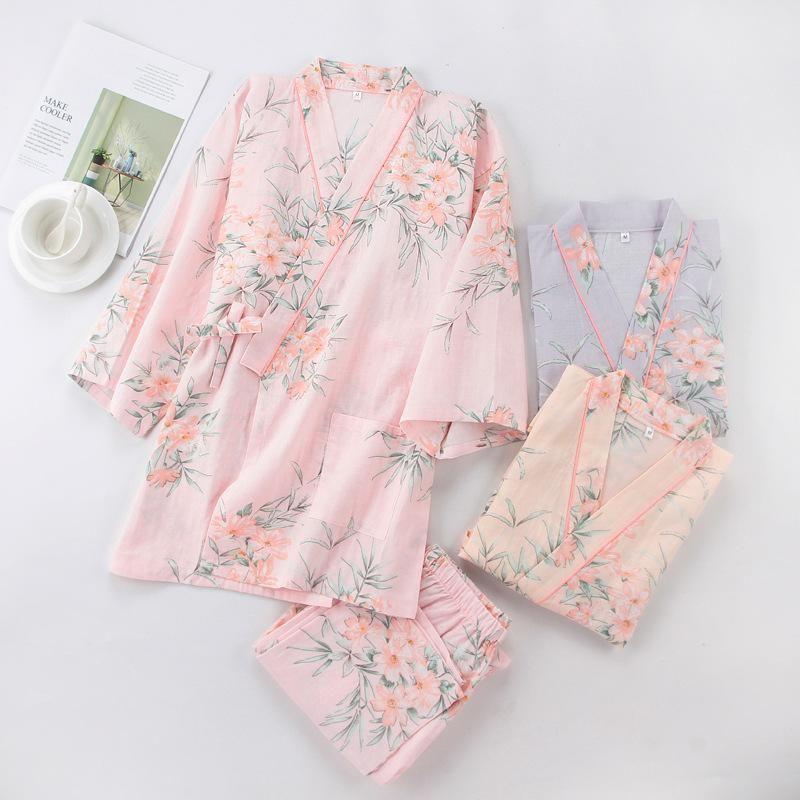 Женщина японский стиль юката для женщины весенние цветочные кимоно спать хлопок тонкий домашний пижам набор досуг женская ночная одежда