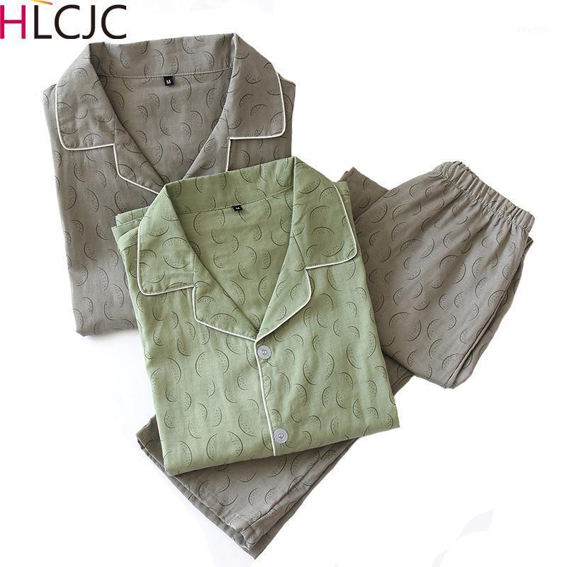Nouveaux Hommes à manches longues Coton Gauze Pajamas Collier Summer Summer Printemps Jeune Jeunesse Ensemble Imprimer Hommes Loisirs Suit Sleepwear1