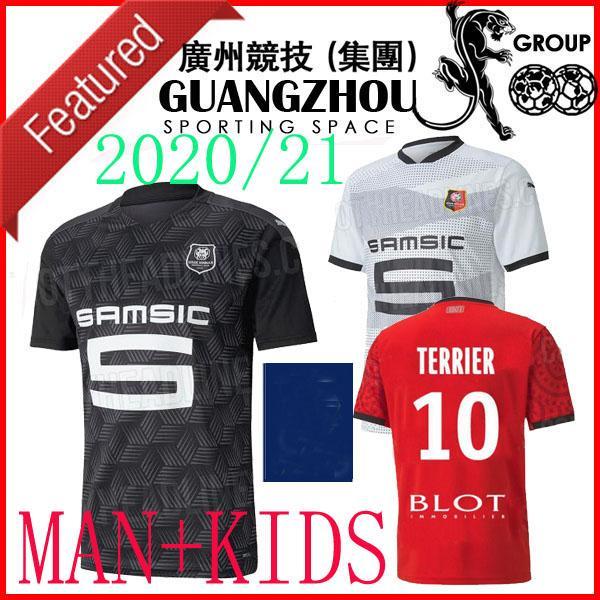 20 21 Stade Rennes Accueil Jerseys de football Enfants Homme 2020 28 J.Martin Bourigeauud 14 11 Niang Raphinha 10 Terrier Jersey 2020 Shirts de football