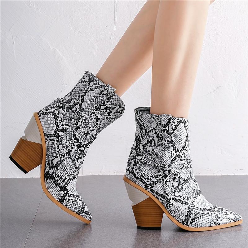 Plus la taille 34-43 Nouveau serpent imprimé femmes bottes automne chaussures hiver bottes épaisses talons hauts marque femme bottines ouest de shoes210