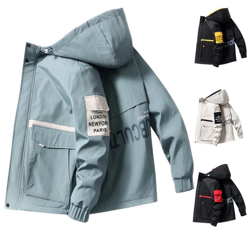jaqueta de 2020 Primavera e Outono roupas Men Jacket Brasão Outwear com capuz Wadded Magro Parka Hip Hop dos homens Mens moda com capuz impresso