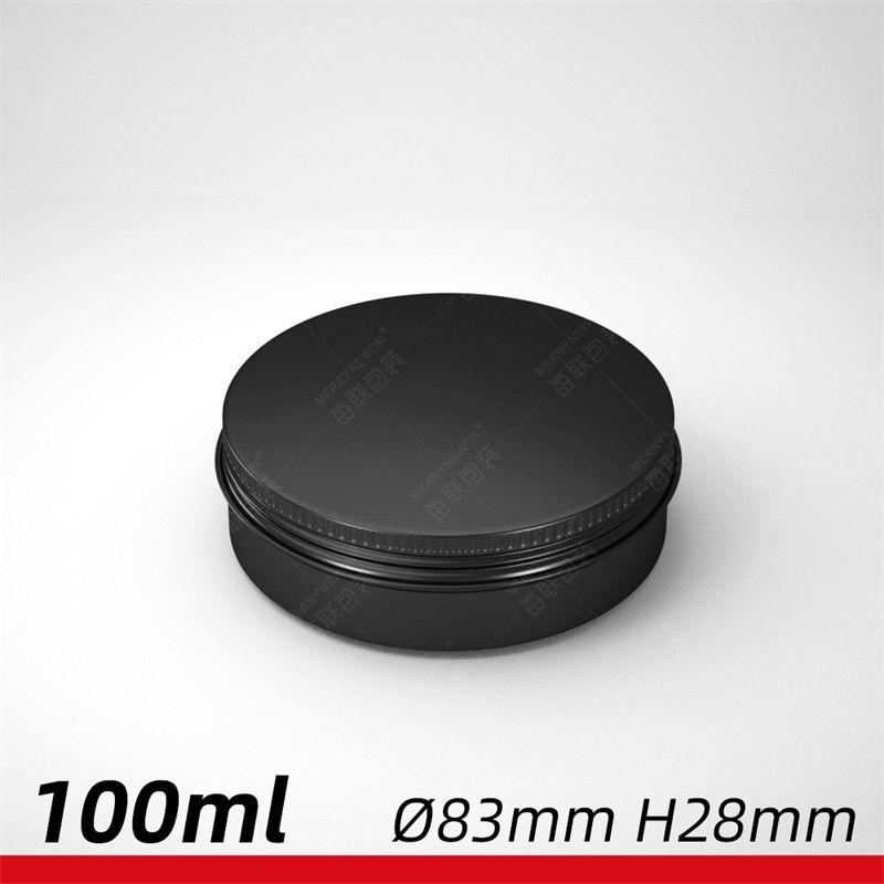 Пустые круглые органайзер косметические банки алюминиевые черные чехлы винтовые резьбы крышки металлические коробки олова макияж чайной пищи 2 2 млк C2