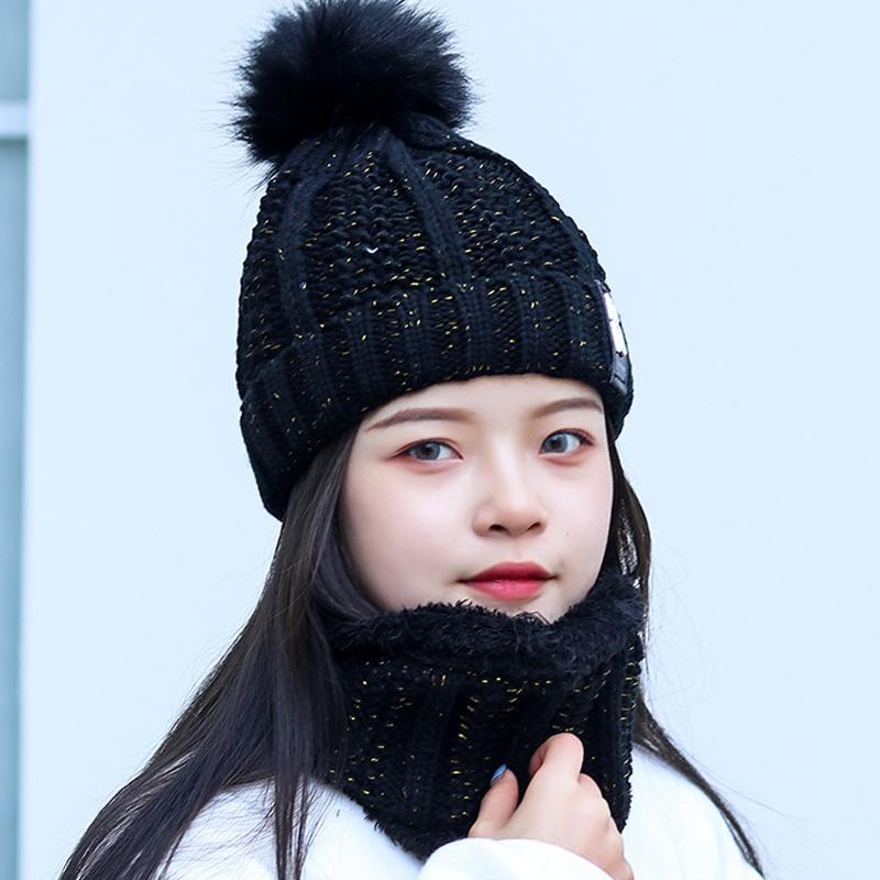 Yo-Genç Kadınlar Boyun Sıcak Örme Kış Şapka İçin Kız Yün Beanies Skullies Kadife Şapka Bonnet Femme Balaclava Eşarp Maske