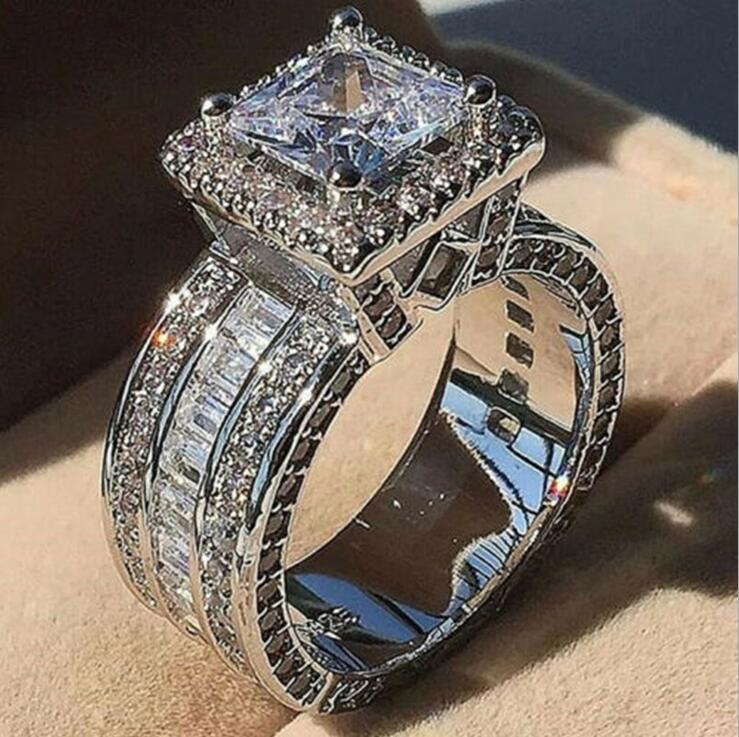 Choucong einzigartiger Luxus-Schmuck 925 Sterling Silbergold-Füllung Princess Cut Whie Topaz CZ-Diamant-Party Ewigkeit Frauen Hochzeit Band Ring Geschenk