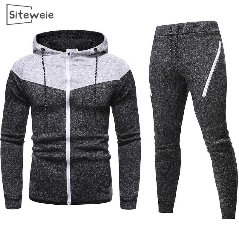 Conjuntos SITEWEIE 2 peça suor ternos para homens Casual Esportes Fatos Zip Up capuz e calça de moletom Suits Homens Roupa L494