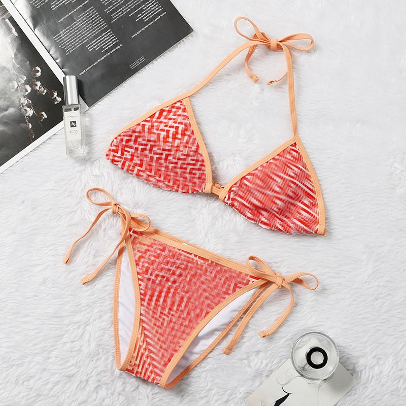 2021 Bikinis de cintura alta Bikinis para mujer Traje de baño Lotus hoja Bikini Set Dot Impreso Traje de baño Mujer Playa Ropa de playa Bicini Bañado Traje de baño