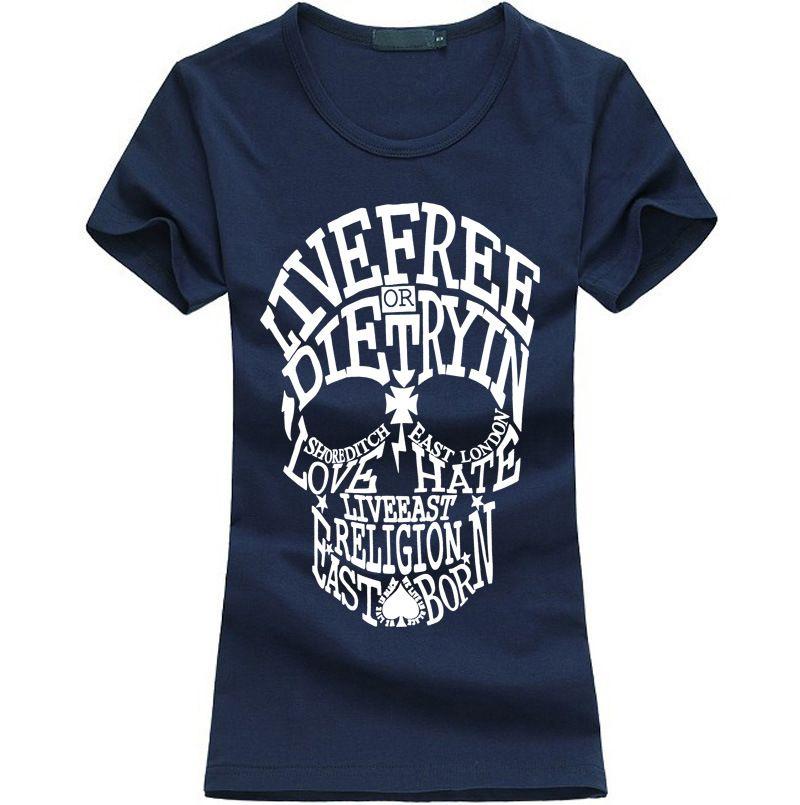 Skull American Calidad europea y 2021 Fashion Hot Fashion Head T-Shirt Marca de verano Marca de mujer Hip-Hop High Lady Manga de manga corta USDXW