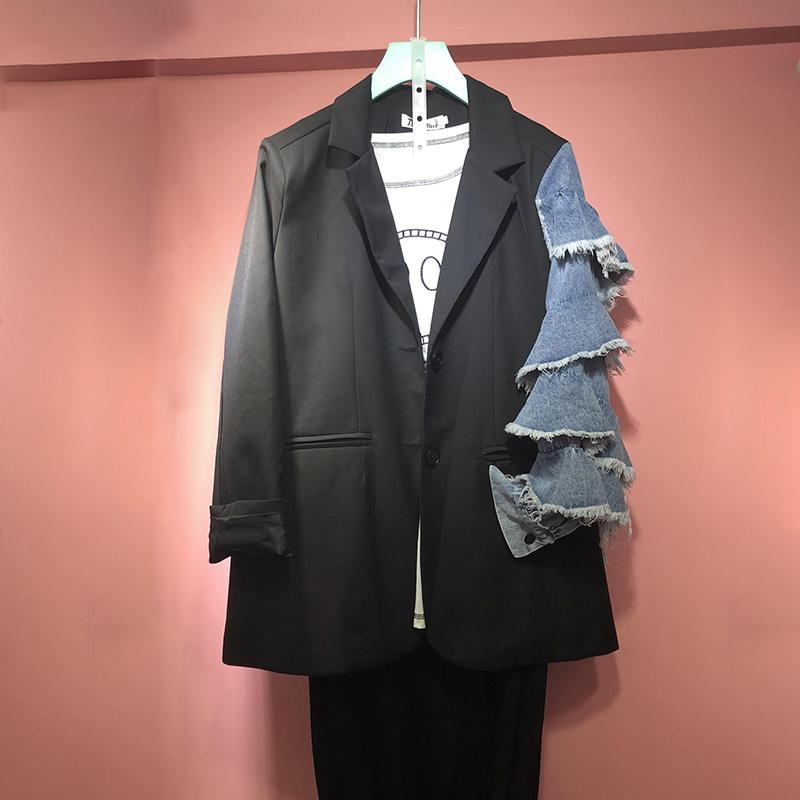 [EWQ] Autumn Ladies Fashion Blazer Denim Patchwork Long Ruffled Sleeve Loose Single Breasted Suit Coat Women Suits Outwear 201012