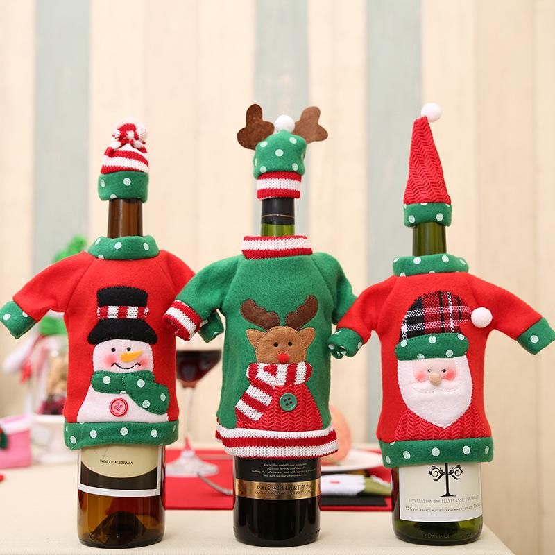 Christmas Wine Bottle Covers Santa Claus Snowman Elk Wine Bottle Sweater Cover With Hat New Year Xmas Home Christmas Decorations w-00426