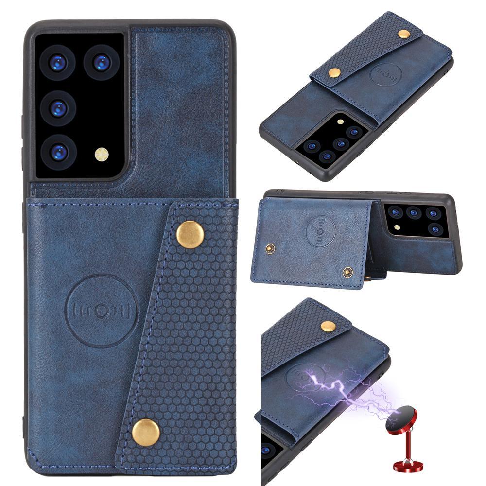 Boutons durables Couverture en cuir pour Samsung Galaxy S21 S21ULTRA Ma montage de voiture magnétique Couvercle de téléphone S21 Ultra Kickstand Porte-cartes