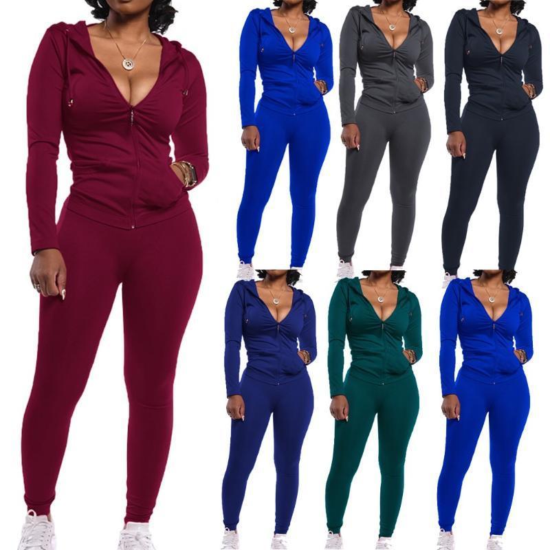Женские трекии моды мода женщин осень леди сплит 2 шт спортивный костюм набор повседневный сплошной цвет бегущие брюки густая теплая одежда