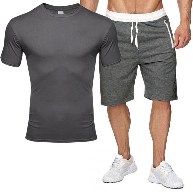 2020 Hombres Camiseta de manga corta camiseta cremallera Shorts Casual Set Fashion 2 PCS Sweat Sket Sets Male Sportswear Traje de Traje Verano Sportsuit