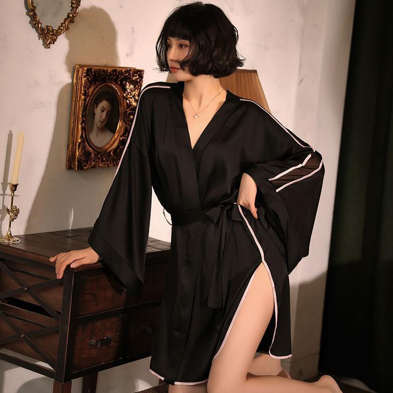 seksi köpük sonbahar yeni kadın taklit ipek seksi derin v Bir boyutu gecelik bölünmüş elbise bornoz dikiş örgü