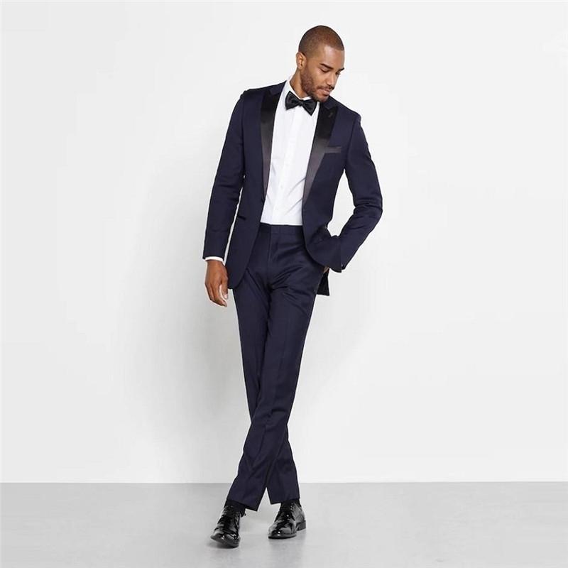 Yakışıklı Erkekler İnce Gömme İş Parti Takım Elbise Damat Groomsman Smokin Örgün Smokin Suit Set Bahar Özelleştirilmiş (Ceket + Pantolon) 201106
