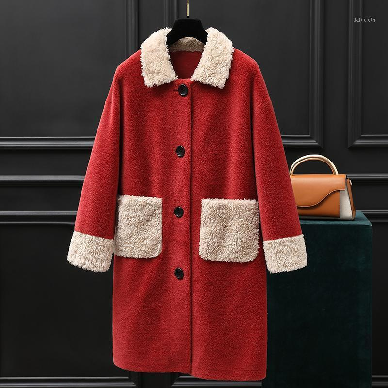 Chaqueta de piel suave cálida 100% chaquetas de lana para mujer2020 moda abrigo coreano femenino otoño ovejas cizallamiento abrigo mujeres abrigos zjt6971