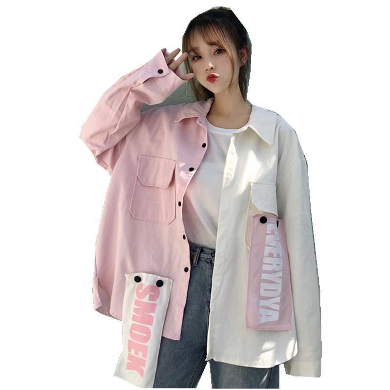 New Harajuku Oversize Patchwork Jacket Women 2020 Autumn New Arrival Outwear Coat Hip Hop Streetwear Loose BF Style Jackets